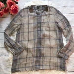 Theory Plaid Patterned Silk Button Down Blouse